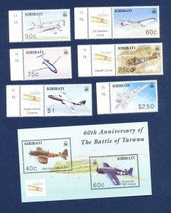 KIRIBATI - Scott 828-834  - FVF MNH - WWII Airplanes  - 2001