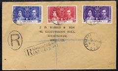 Grenada 1937 KG6 Coronation set of 3 on plain cover with ...