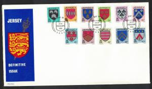 Jersey Definitives Arms of Jersey Families FDC SG#249-259