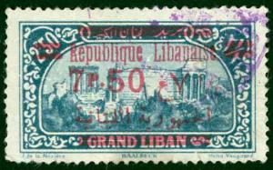 Lebanon Sc# 99 Used 1928 750p on 250p View of Beirut