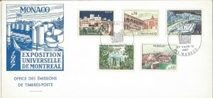 Monaco Exposition Universelle De Montreal 1967 First Day Cover Monaco PM U2543