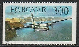 1985 Faroe Islands - Sc 135 - MNH VF - 1 single - Fokker Friendship