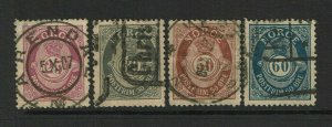 Norway SC# 54, 55, 57and 58, Used, Hinge Remnant, see notes - S9377