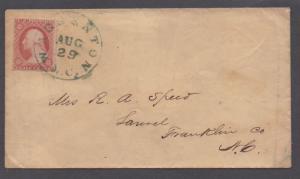 **US 19th Century Cover, SC# 26 Warrenton, NC, 8/29 Green CDS Cancel
