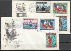 Haiti, Scott cat. 448-450, C145-147. Pan American Games issue. First day Cover.