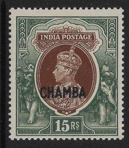 INDIA-CHAMBA SG106 1942 15r BROWN & GREEN MTD MINT