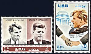 Ajman Michel 299 A-300A, MNH, Robert and John Kennedy