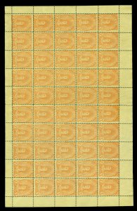 GUATEMALA 1878 Indian Woman 1p orange Sc# 14 full sheet of 50 of SZEKULA Forgery