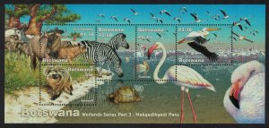 Botswana Flamingo Pelican Birds Zebra Buffalo Turtle Wetlands SG#MS999