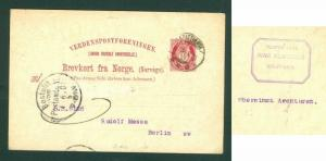 Norway. Stationery 1901. 10 Ore  Posthorn. Cancel: Kristiana. Adr: Germany.