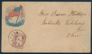 ATTRACTIVE RED & BLUE WAVING FLAG MILLHEIM, PA PATRIOTIC COVER BU1661