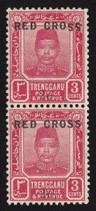 TRENGGANU MALAYA 1917 Red Cross 2c on 3c SE-TENANT PAIR ERROR SS INVERTED