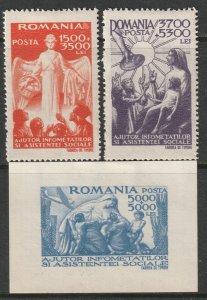 Romania 1947 Sc B346-8 set MH