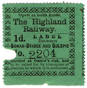 (I.B) The Highland Railway : Newspaper Parcel 1d (Bonar Bridge & Golspie)