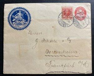 1908 Esbjerg Denmark Advertising Postal Stationery cover To Frankfurt Germany
