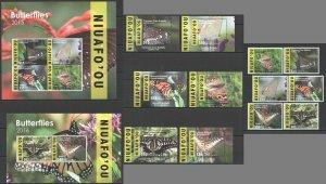 KS 2015,2016 NIUAFO'OU TONGA SAMOA BUTTERFLIES MICHEL 1170 EURO KB+7BL+SET MNH
