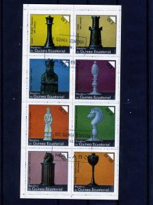 Equatorial Guinea 1977 Chess on stamps Sheet Perforated CTO Used