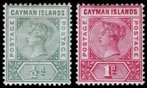 Cayman Islands Scott 1-2 (1900) Mint H F-VF, CV $31.00 M