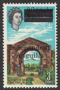 ANGUILLA : 1967 'Independent Anguilla' QEII Gateway 3c. MNH **.