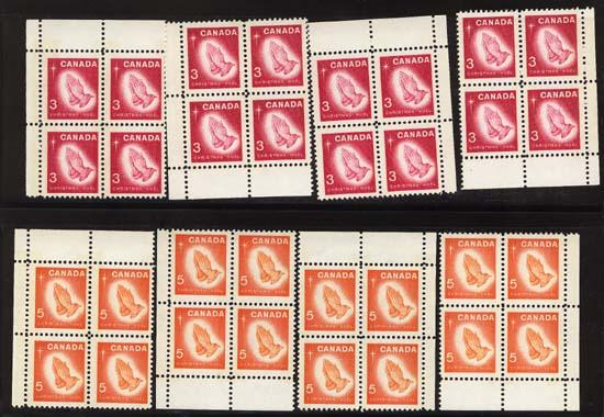 Canada - 1966 Christmas Praying Hands Pl. Blocks Tagged