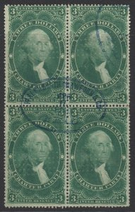US Sc R85c, used block of four, blue handstamp cancel (sm tear and cor crease)