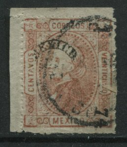 Mexico 1872 25 centavos perforated used