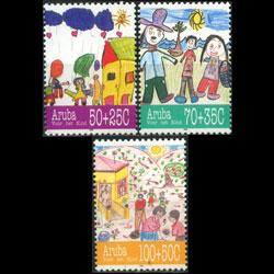 ARUBA 1995 - Scott# B40-2 Child Welfare Set of 3 NH