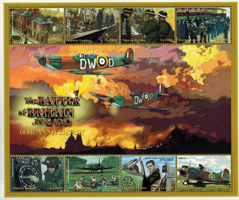 Sierra Leone MNH S/S Aircraft Battle Of Britain 8 Stamps Large Size
