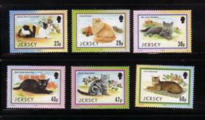 Jersey  Sc 1049-54 2002 Cats stamp set mint NH