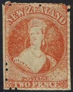 NEW ZEALAND 1871 QV CHALON 2D WMK STAR PERF 12.5