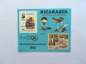 1980 NICARAGUA Summer Olympic Games Block 111 Rowland Hill Aivation Airplanes.