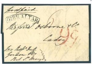 W515 1838 GIBRALTAR Arc PAID Historic Military Letter Cover FORWARDED Cadiz