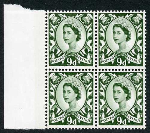 S12 1970 QEII 9d Bronze-green (Scotland) with Two Phosphor Bands Block of 4 U/M