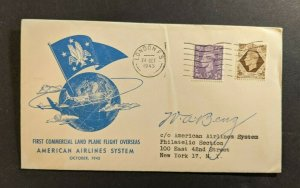 1945 London England First Flight Cover New York American Airlines Pilot Signed