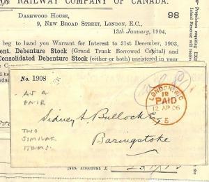 AB85 1904 & 1905 GB Canada Railway Debenture Stock Certificate x 2 PTS
