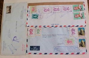 IRAN  SHAH 3 REGISTERED COVERS 1970's TO USA