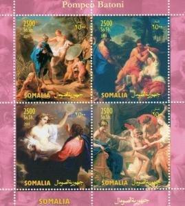 Somalia 2004 POMPEO BATONI Nudes Paintings Sheet (4) Perforated Mint (NH)