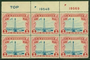 EDW1949SELL : USA 1928 Scott #C11 Top P/B of 6. Blue Top Mint NH. Catalog $57.