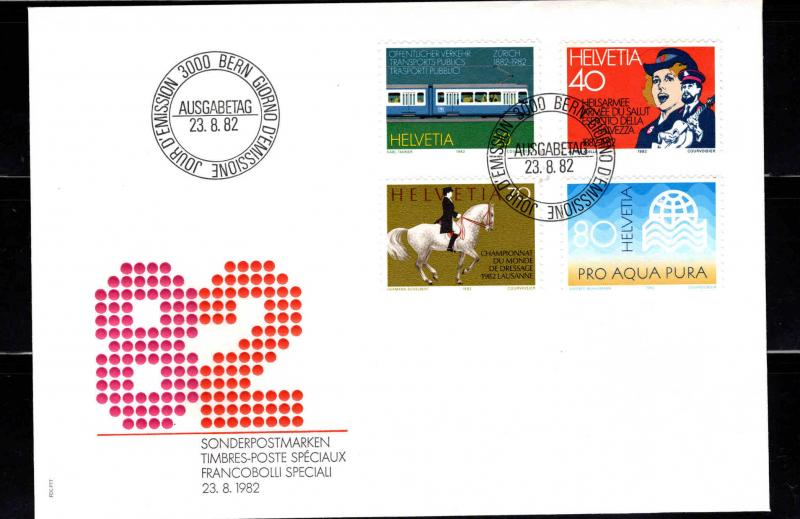 Switzerland Scott 729-732 First Day Cover with canceled stamp set