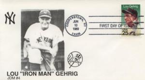1989 Lou Gehrig Baseball (Scott 2417) JDM#4 FDC