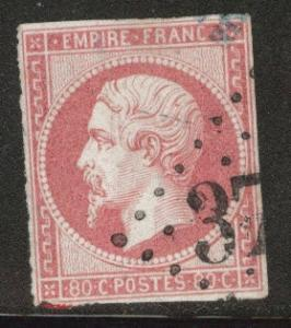 FRANCE Scott 20 rose on pinkish type 1 Imperforate Napoleon 1860 CV$ 47.50
