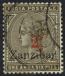 ZANZIBAR 1895 QV 21/2 ON 1A6P USED