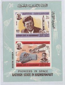 1967 KATHIRI STATE OF HADHRAMAUT - PRES. KENNEDY @ NASA - SPACE PIONEERS - UMM