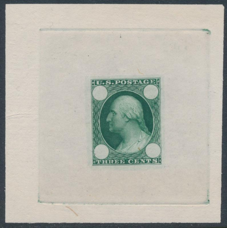 #65-E3c DIE ESSAY ON PROOF PAPER NO NUMERAL PRINTED THRU A MAT XF GREEN BT7814