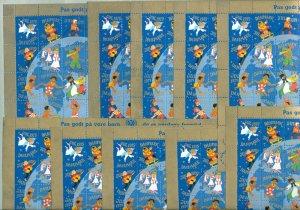 Denmark. 10 Christmas Seal,Sheet 1979 Unfold.Children Of The World. 2 Diff Perf.