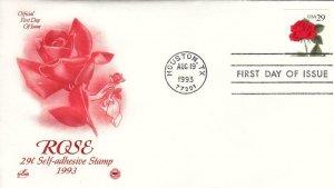 1994, 29c Rose Self Adhesive Stamp, Artcraft/PCS, FDC (E9069)