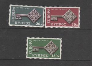 Cyprus 1968 Europa UM SG 319/321