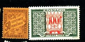 Monaco #J9,J38a MINT FVF J9 OG J38a No Gum Cat$16