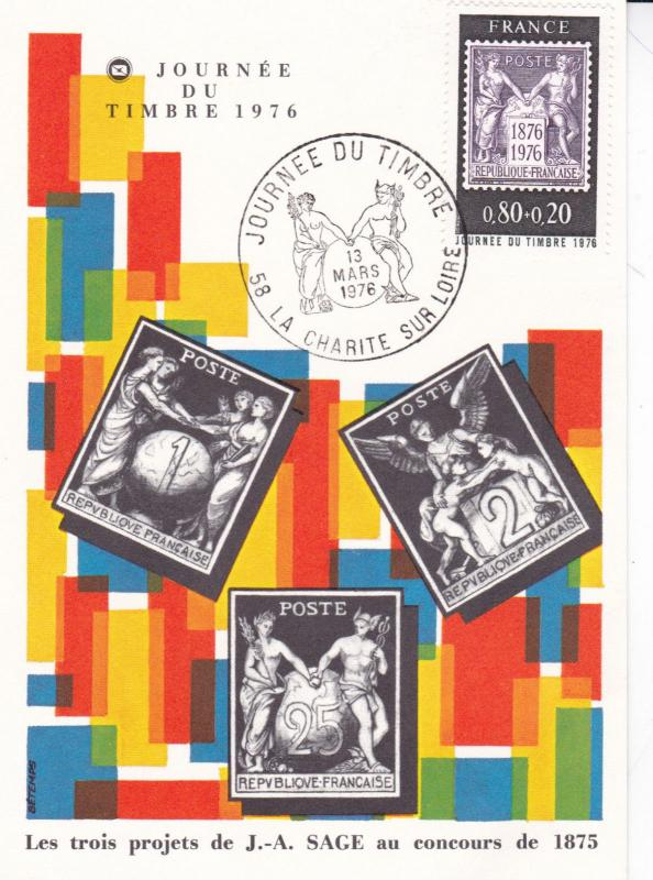 France 1976 International Stamp Day FDC Postcard Unused VGC