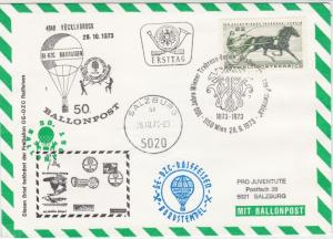 Austria 1973 Balloon Post 100 Year Horse Association Stamps Cover Ref 28709